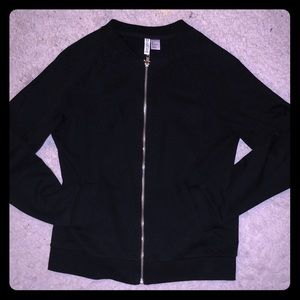Classic Black Cotton Track Jacket